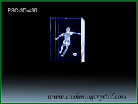 3d laser crystal football player
